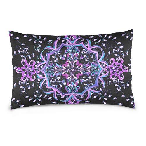 FULUHUAPIN Funda de almohada de forro polar de algodón, diseño de flores, color morado, con cremallera, tamaño estándar, suave y acogedor, para niños y niñas, 20 x 26 pulgadas 2030225