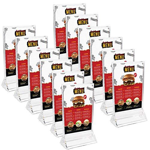 Kurtzy Tischaufsteller (12 Stück) - A6 Durchsichtigem Acryl Kunststoff Tisch Ständer für Restaurant Menü, Broschüre, Foto Anzeige, Flyerhalter - Poster Rahmen und Werbeaufsteller Set