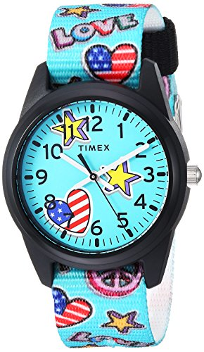 Timex Girls TW7C23500 Time Machines Teal/Stars & Flags Nylon Strap Watch