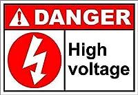 高電圧2の危険 メタルポスタレトロなポスタ安全標識壁パネル ティンサイン注意看板壁掛けプレート警告サイン絵図ショップ食料品ショッピングモールパーキングバークラブカフェレストラントイレ公共の場ギフト