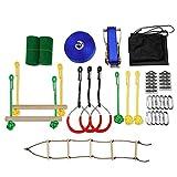 Ninja Warrior Line Obstacle Course Kit, Slackline Hanging Obstacle Training Equipment, Outdoor Tree Hanging Obstacles Line Accessories Play Set For Kids, Ninja Slackline Monkey Bar Kit