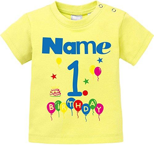 EZYshirt EZYshirt® Geburtstag Wunschname Wunschnummer Baby T-Shirt Bio Baumwolle