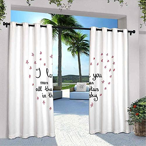 "Cortinas impermeables con diseño de corazón con texto en inglés ""I Love You More "", texto en inglés ""I Love You Mor"", para dormitorio, sala de estar, porche, pérgola, 108 x 226 cm, rojo gris y blanco"