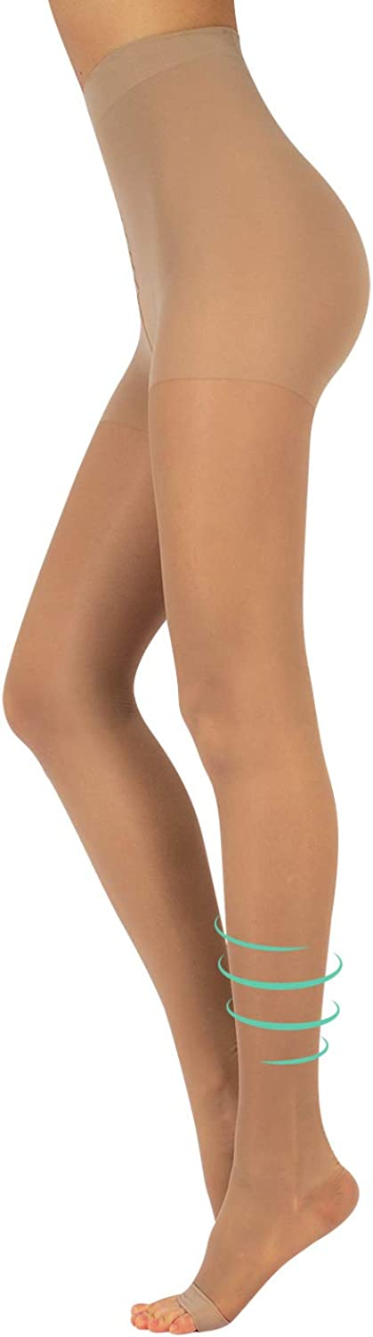 Graduated Compression Pantyhose | 18-22 mm/Hg Open Toe Tights | Black,Skin | S,M,L,XL | 140 DEN | Made in Italy