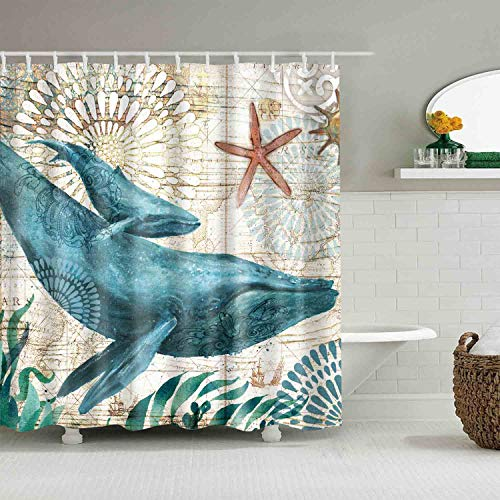 Whale Sea Ocean Shower Curtains Mediterranean Style Marine Life, Bath Fantastic Decorations Waterproof Polyester Fabric Bathroom Shower Curtain Liner with Hooks 72' x 72' (Whale)