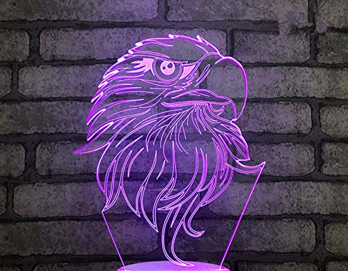 Altavoz Bluetooth 3D Luz nocturna Águila Multicolor Toque Led Gradiente Lámpara de escritorio visual Bluetooth Música Luz nocturna Fiesta Usb Base negra Luz de regalo