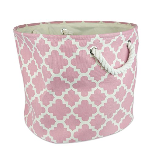 "DII Collapsible Polyester Storage Basket or Bin with Durable Cotton Handles, Home Organizer Solution for Office, Bedroom, Closet, Toys, & Laundry (Medium Round – 12x15""), Rose Lattice"