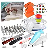90 Pcs Cake Decorating Supplies kit with Cake Turntable-Cake leveler-48 Piping Tips with Pattern Chart -Straight & Offset Spatula-20 Icings Bags- 3 Icing Smoother Scraper Set for Beginner Cake-Lover