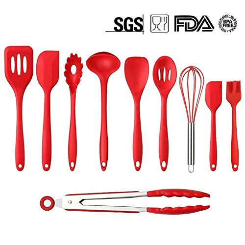Mysj Kitchen Silicone Utensil Set,Heat-Resistant 446°F,10Piece Spatula Spoon Baking Cooking Gadgets