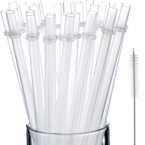 Price comparison product image Jovitec 50 Pieces Reusable Drinking Straw Thick Plastic Straws with Cleaning Brush Straw Cleaner (11 Inch)