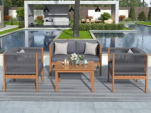 Danxee Acacia Wood Sectional Sofa Set 4-Pcs, Includes Coffee Table with Gray Cushions Water-Resistant Cushions Ideal for Garden, Backyard, Poolside