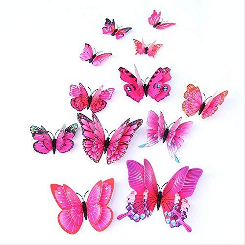 3D dubbele laag vlinder simulatie driedimensionale vlinder woonkamer koelkast stickers gordijn bloem winkel bruiloft decoraties romantische muur stickers