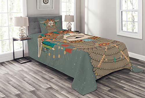 ABAKUHAUS Lama Tagesdecke Set, Ethnische Kleidung Alpaka, Set mit Kissenbezug Moderne Designs, für Einzelbetten 170 x 220 cm, Schwarz Weiß Grün