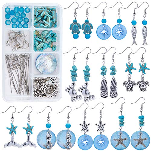 SUNNYCLUE 1 Box DIY 10 Pairs Starfish Mermaid Turquoise Earring Making Starter Kit Ocean Beach Summer Theme Earrings Synthetic Turquoise Beads Turtle Fish Crab Slipper Charm for DIY Jewelry Making