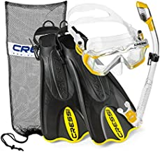 Cressi Italian Boutique Collection - Palau Short Self Adjust Fin - Liberty Triside Pano Tempered Glass Lens Mask - Purge Valve Dry Snorkel - Mask Fin Snorkel Set - Yellow, L/XL, Man 11/13 - Lady 12/14