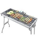 IKAYAA Barbecue Griglia a Carbone Professionale per 5-10 Persone,Barbecue a Carbone Portatile,Barbecue Pieghevole per BBQ,Utensile BBQ Grill,per Picnic all'aperto Giardino Terrazza Campeggio