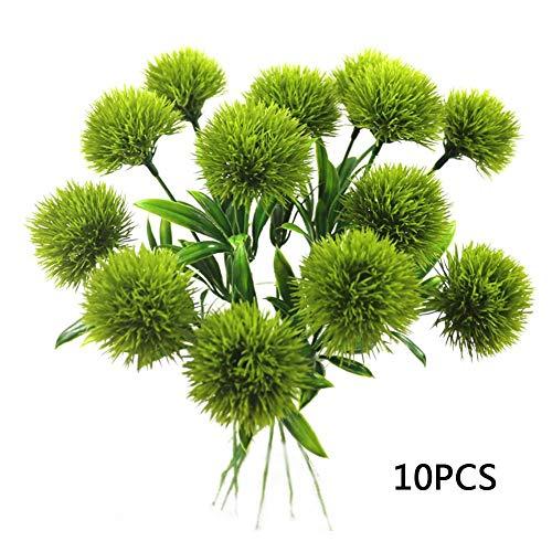 10 künstliche Kunststoff-Pflanzen Mini-Pusteblumen-Blumenstrauß Hortensien Dekoration für Hochzeiten, Wohnzimmer, Garten, Party-Dekoration, grün