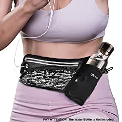 "OTraki Running Belt with Water Bottle Holder Reflective Hiking Fanny Pack for Women Men Zip Fitness Waist Bag Adjustable Strap Runner Belts Jogging Gym for 6"" Cell Phone"
