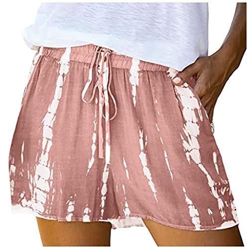 Xniral Damen Shorts Kordelzug Elastische Taille Weite Hose Kurze Hose Sommer Farbblock Gestreift Beiläufig Pants(Rosa,XL)
