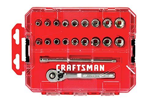 Craftsman CMMT12008 – Juego de 20 llaves de vaso de 1/4″ en estuche moldeado por soplado