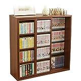 アイリスオーヤマ 本棚 コミック 大容量 スライド棚 ウォールナットブラウン ダブル 幅約90×奥行約29.2×高さ約92.2cm CSD-9090