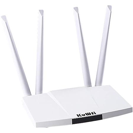 KuWFi 300 Mbps desbloqueado 4G LTE Router CPE con ranura para tarjeta SIM con potente antena de 4 piezas no extraíble WiFi Hotspot Cat4 150 Mbps