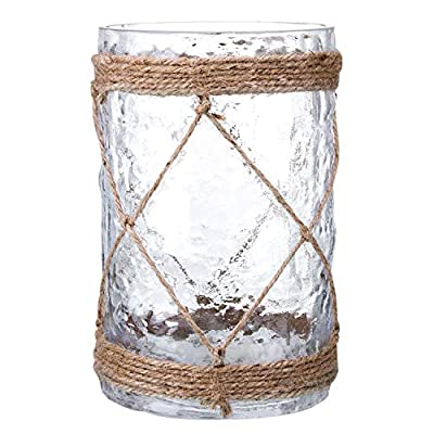 Diamond Star Rustic Glass Vase Decorative Cylinder Vase with Creative Rope Net (Small)