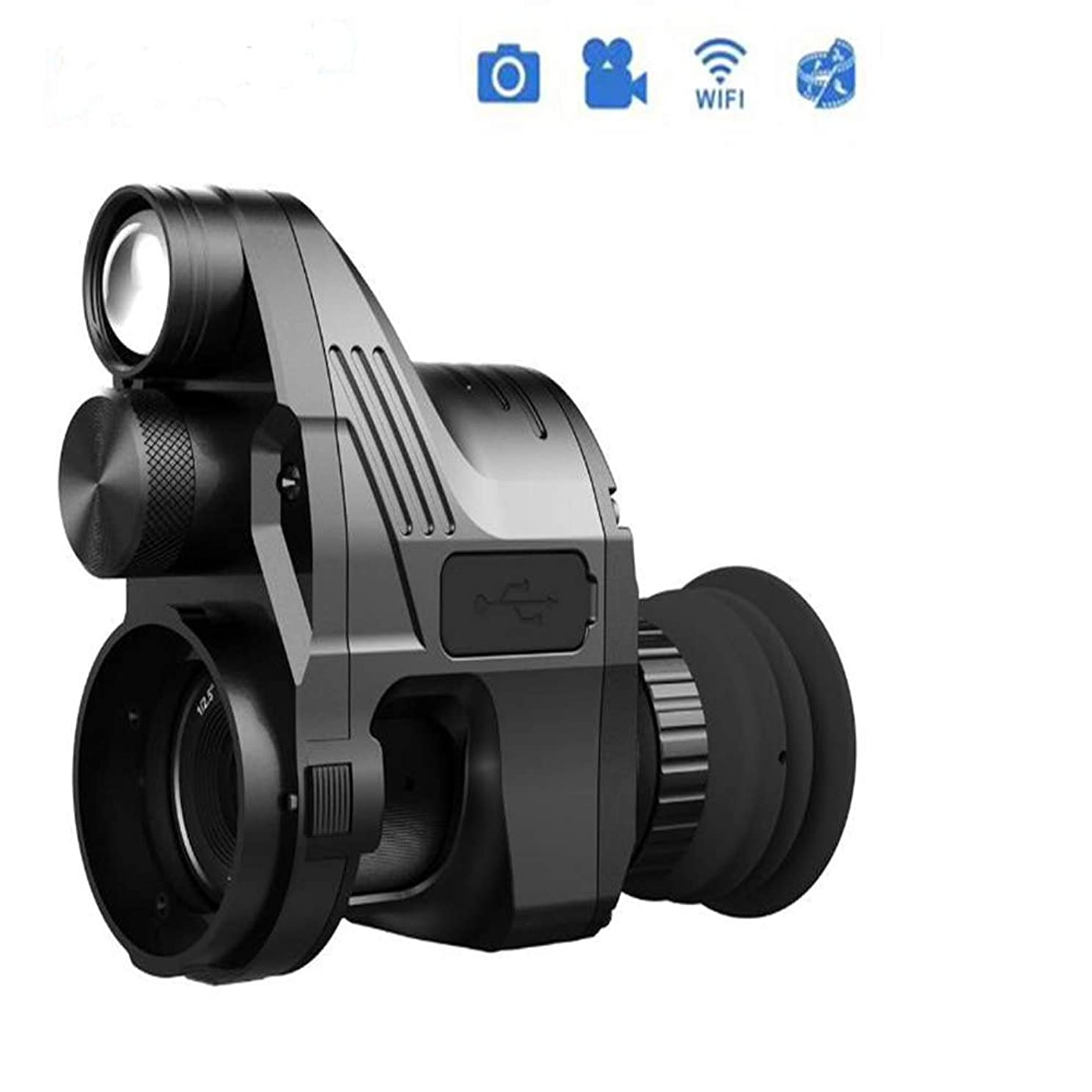 KASIQIWA NV700 Night Vision Device, Optics Digital Monocular Telescope Built-in IR-Illuminator with HD Len WiFi Connection use for Outdoor Video-Making Sightseeing