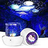 Night Light Baby Projector, Lupantte Nightlight Lamp with 12 Films 360 Degree Rotating Star Galaxy Light Projector for Kids Children Birthday Gifts, 6 Modes Mood Light Lamp