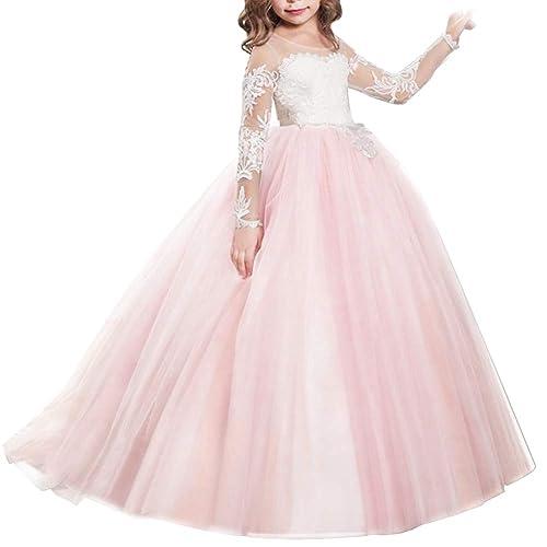 7ae8183c6e22a IBTOM CASTLE Fille Robe de Mariage Cérémonie Soirée Manches Longues Robes  Princesse en Dentelle Florale Costume