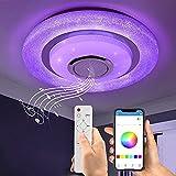 Wayrank Plafon Led Techo RGB con Altavoz Bluetooth,36W Lampara Led Techo Control con Remoto y Control de Aplicaciones, Luz Techo Moderno para Cocina Dormitorio