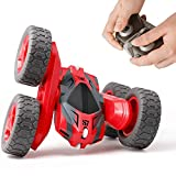 Tecnock Remote Control Car for Kids,360 ° Rotating Double Sided Flip RC Stunt Car,2.4Ghz 4WD Toy Car with Rechargeable Battery for 45 Min Play,Great Gifts for Boys and Girls(Red)