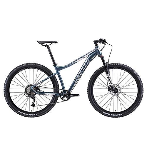 FANG 9 Gang-Schaltung Mountainbike, MTB Mit Gabelfederung, Herren Hardtail Fahrräder, Alu Rahmen Gabel-Federung MTB Fahrrad für Herren und Damen,Grau,29Inch