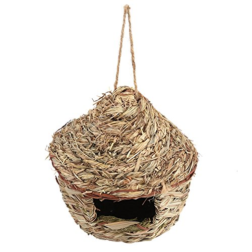 Straw Bird Nest Birdhouse for Parrot Hamsters Small Animals Animals Cage Home Hanging Decor, Bird Nest Birdcage Rattan Straw Decorative Chain Hanging Basket Gardening (Decor L)