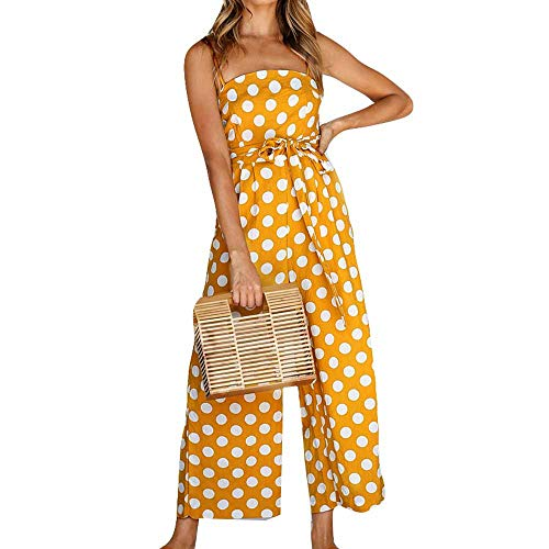 Purchase LIM&Shop Women Summer Jumpsuit Spaghetti Strap Romper Cami Top Polka Dots Waist Belted Wide...
