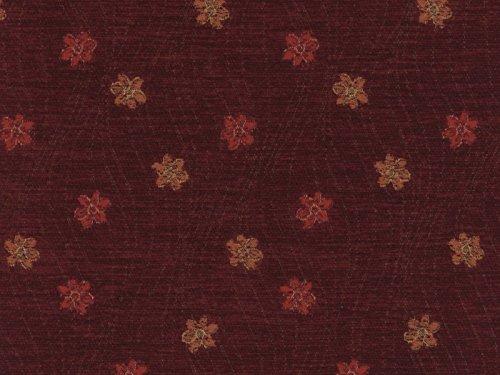 Landhausstil Möbelstoff Como Blume mit Fleckschutz Farbe wein (rot, dunkelrot, bordeaux) - Flachgewebe (Floral, Blume), Polsterstoff, Stoff, Bezugsstoff, Eckbank, Couch, Sessel, Hussen, Kissen