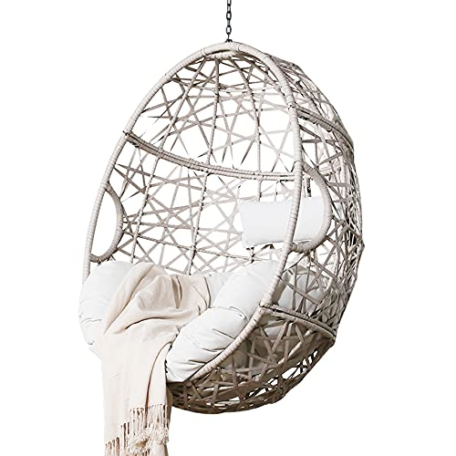 Ulax Furniture Outdoor Patio Wicker Hanging Basket Swing Chair Tear Drop Egg Chair with Cushion (Beige)