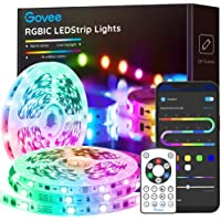 Govee 32.8 ft./5m (2 x 16.4 ft.) RGBIC Segmented Smart Color Bluetooth Sync with Music 5050 LED Strip Lights