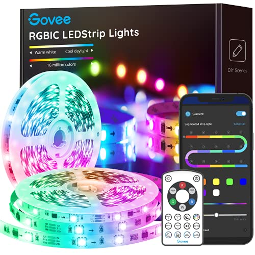 Govee RGBIC LED Strip Lights, 32.8FT Bluetooth Segmented DIY Control Color Changing LED Lights with Music Mode, Timer, App and Remote Control for Bedroom, Kitchen, Living Room, Party (2×16.4FT)