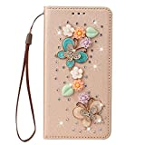 King phone Bling Glitter Butterfly Case para Samsung Galaxy S7 Edge Luxury Bling Jewelry Diamond PU Funda de cuero con ranura para tarjeta de crédito Cierre magnético Flip Kickstand Shell - Oro