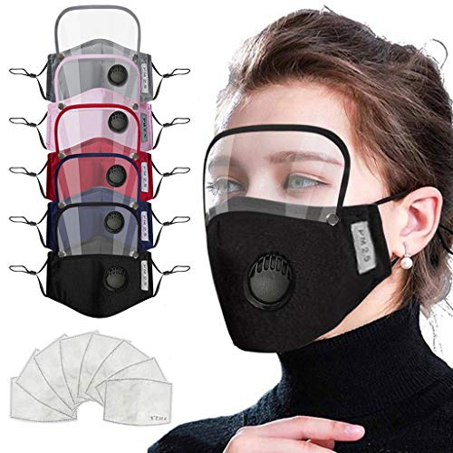 5pcs Adult Reusable Face_mask with Breathing Hole, with Detachable Eyes_Shield for Coronàvịrụs Protectịon 10pcs Activated Carbon Replaceable Filters Washable fabric For Women