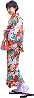 FADVES 浴衣セット レディース 女性用 本格 3点セット 浴衣+作り帯+帯飾り 着物 和服 和装 仕立て上がり 花柄 レトロ モダン 花見 花火大会 夏祭り 七夕祭り