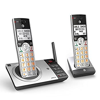 AT&T CL82207 DECT 6.0 2-Handset Cordless Phone for Home with Answering Machine Call Blocking Caller ID Announcer Intercom and Unsurpassed Range Silver