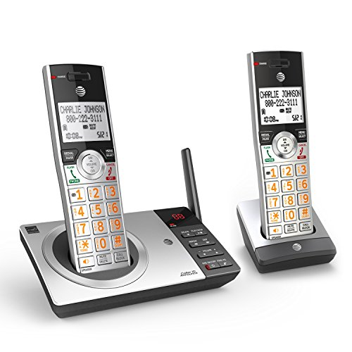 AT&T DECT 6.0 Expandable Cordless Phone with Answering System, Silver Black with 2 Handset