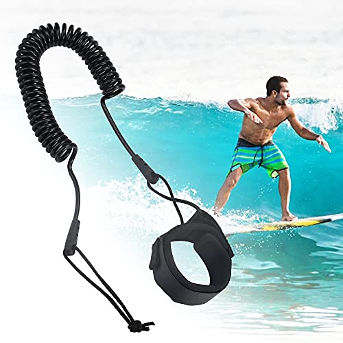 TANCUDER Surfboard Leash Paddle Board Fußseil TPU Seil Schlaufen Sicherheit Fußschlaufe Knöchelriemen 5.5mm Surf Sicherheitsfuß Seil Schwarz Wasserski Fußseil SUP Surf Leine für Surfbretter