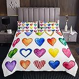 Homemissing Colcha acolchada con forma de corazón de arcoíris para el día de San Valentín romántico, para él y para ella, funda de cama con 2 fundas de almohada, 3 piezas, cama doble