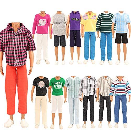 Miunana 5 Sets Kleid Kleidung Tops Jacke Hosen Fashionistas für Ken Puppen
