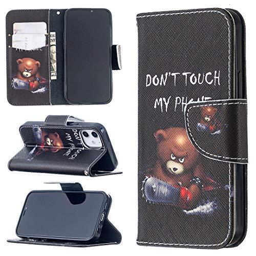 Funda para iPhone 12 Pro Max, Apple iPhone 12 Pro Max 6.7 pulgadas con ranuras para tarjetas, [ Anti Resistente] Funda de parachoques suave, TPU Flip Protective Skin [Don't Touch My Phone]