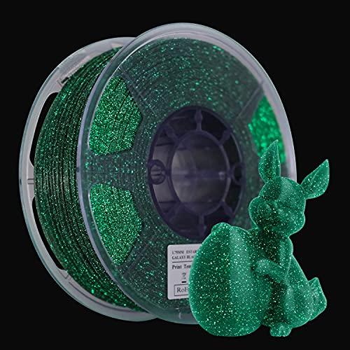 eSUN Filamento PLA 1.75mm, Brillante Impresora 3D Filamento PLA Glow in the Dark Cielo Estrellado, Precisión Dimensional +/- 0.05mm, 1KG Carrete Filamento de Impresión 3D, Verde Estrellado Luminoso