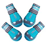 QUMY Black Dog Shoes and Blue Mesh Dog Shoes for Large Dogs in Summer